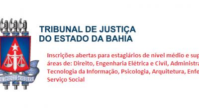 Tribunal de Justiça abre inscrições para estagiários de nível médio e superior em diversas áreas