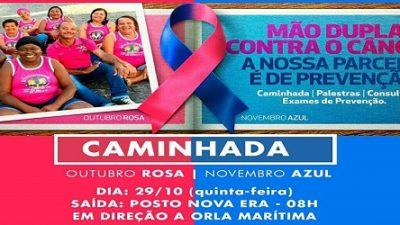 Caminhada do Outubro Rosa e Novembro Azul vai animar a cidade nesta quinta-feira (29)