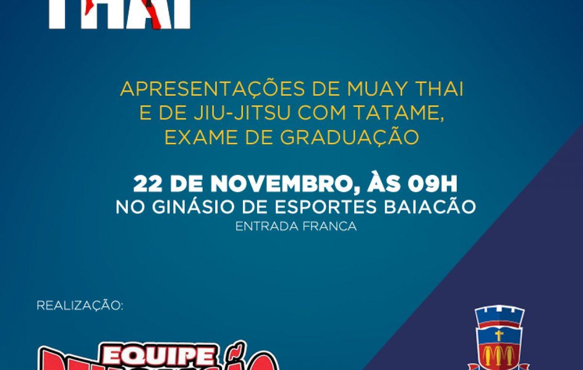 Aulão de Muay Thai e Jiu Jitsu acontecem neste domingo (22), no Baiacão