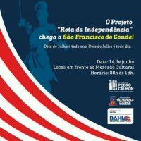 Projeto Rota da Independência passará por São Francisco do Conde no dia 14