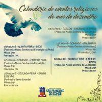 Calendário de eventos religiosos do mês de dezembro sofre alteração