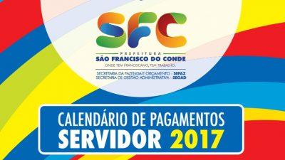 Prefeitura de São Francisco do Conde divulga o Calendário de Pagamentos