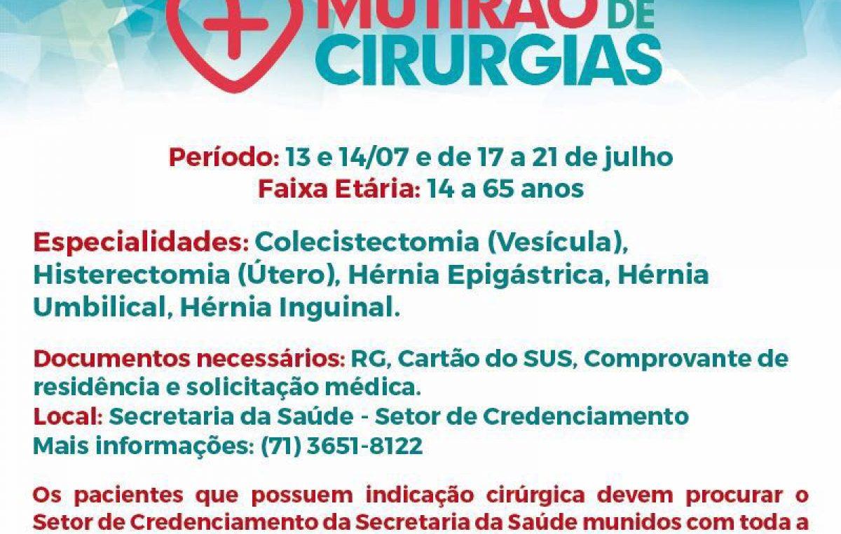 O município de São Francisco do Conde será contemplado com o Mutirão de Cirurgias do Governo do Estado