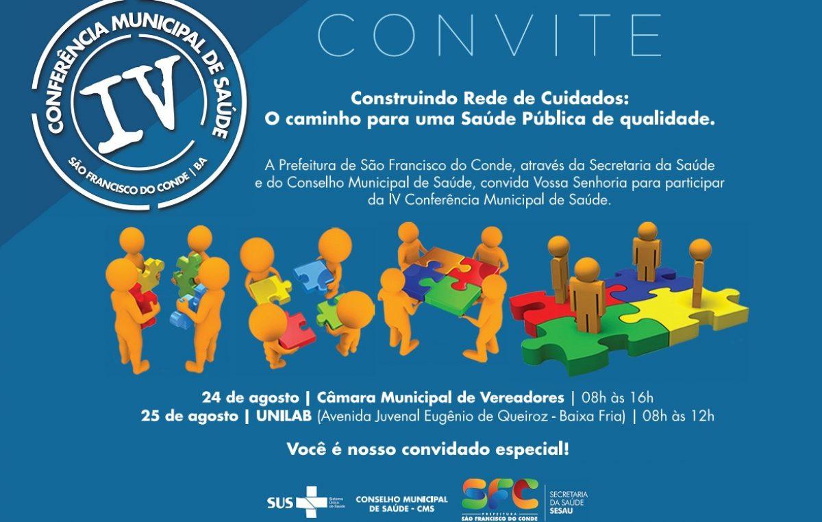 Conferência Municipal de Saúde acontece dias 24 e 25 de agosto