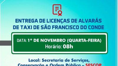 SESCOP realizará cerimônia de entrega de licenças de alvarás de táxi, nesta quarta-feira, 1º de novembro