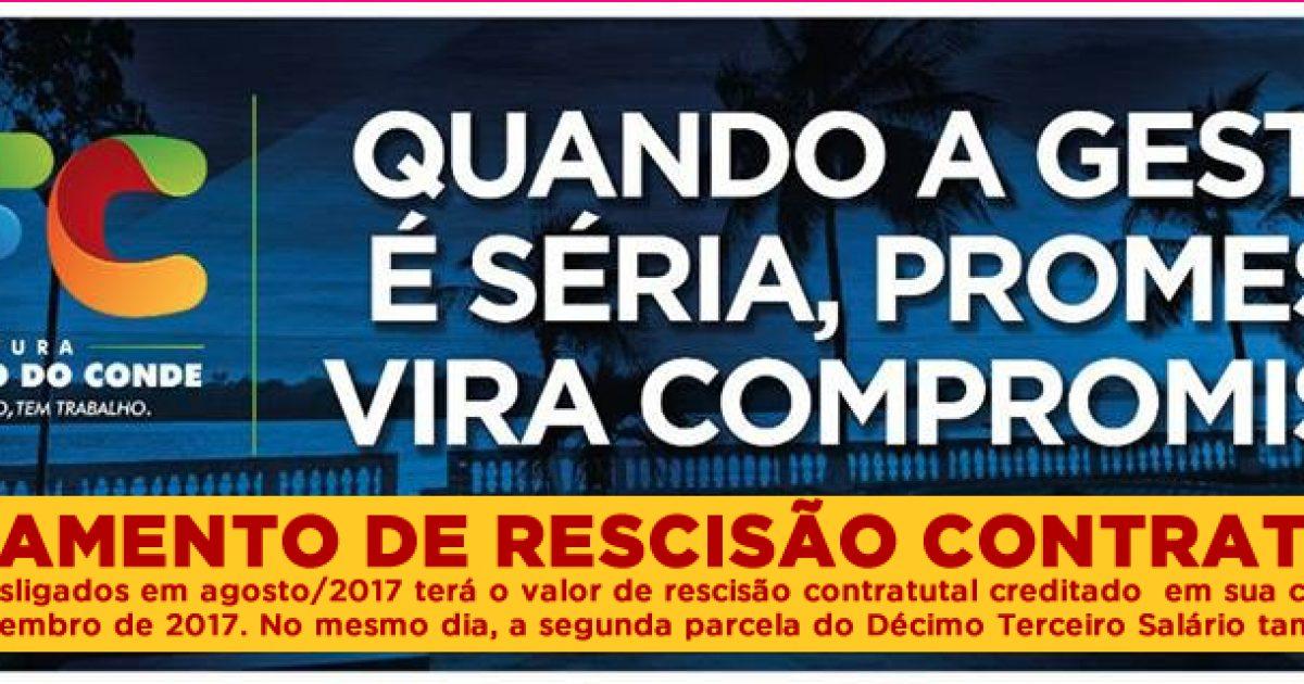 Prefeitura de São Francisco do Conde anuncia pagamento de rescisão contratual