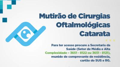Saúde realizará cadastro para Mutirão de Cirurgias de Catarata até sexta-feira (27)