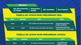 Seleção de São Francisco do Conde volta a campo neste sábado (21) pela8ªCopa Metropolitana de Futebol Sub-15