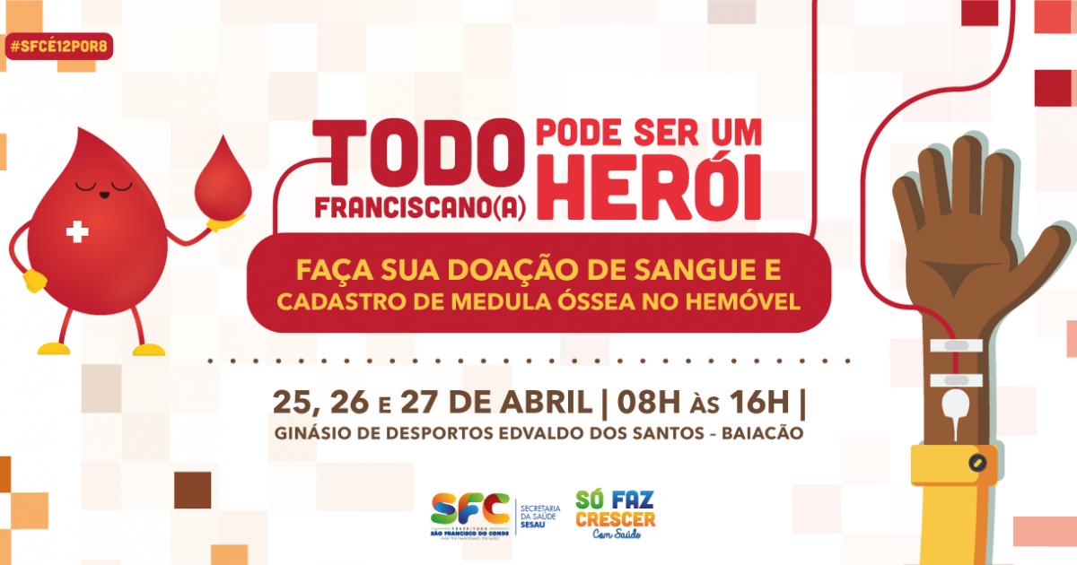 Hemóvel estará em São Francisco do Conde de quarta (25) a sexta-feira (27)
