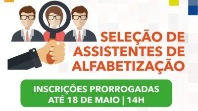 Prorrogadas as inscrições para seleção de assistentes de alfabetização