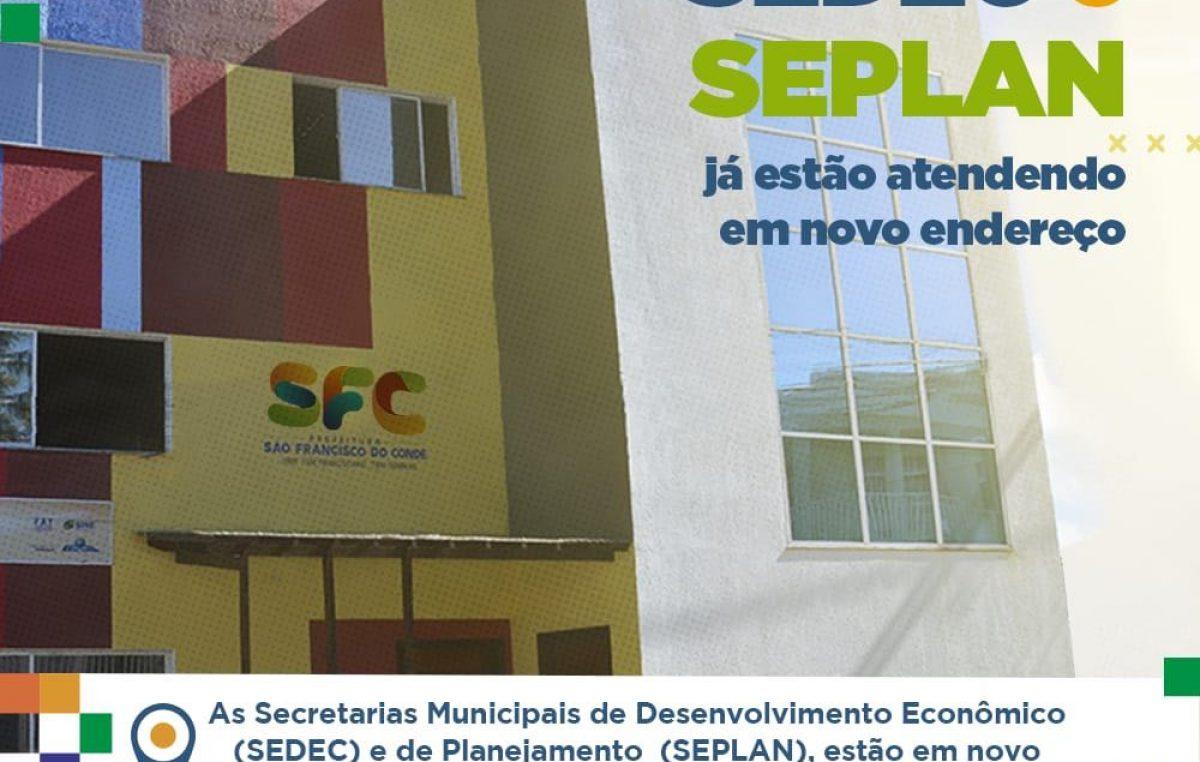 As secretarias municipais de Desenvolvimento Econômico (SEDEC) e de Planejamento (SEPLAN) já estão atendendo em novo endereço