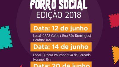 """CRAS: Comunidade do Coroado irá receber mais uma edição do """"Forró Social"""" nesta quinta-feira (14)"""
