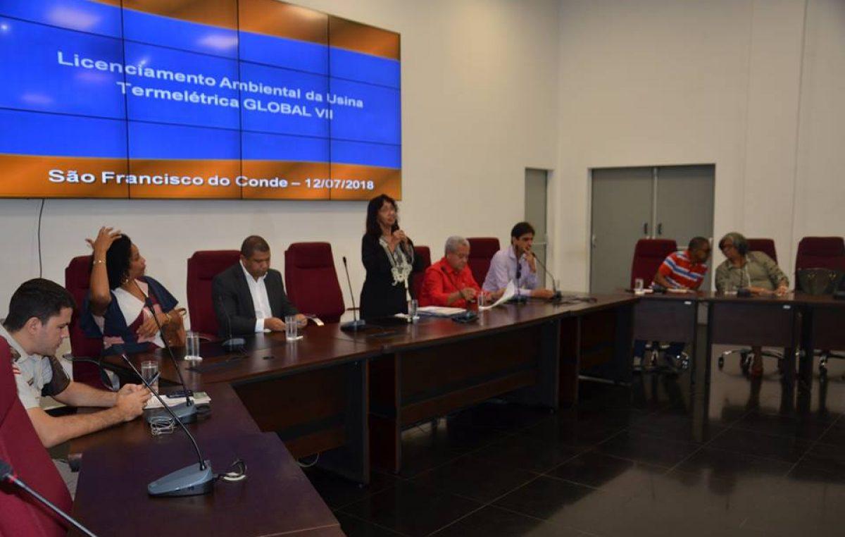 Audiência pública tratou sobre o impacto ambiental da Usina Termoelétrica Global VII, que será instalada em São Francisco do Conde