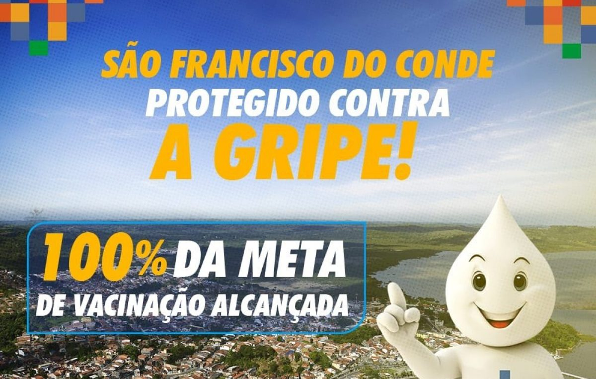 São Francisco do Conde atingiu a meta de vacinação contra a Influenza (gripe) com 102,78%