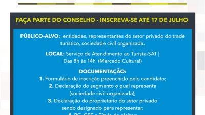 Segue até até o dia 27 de julho as inscrições para o Conselho Municipal de Turismo (COMTUR) – biênio 2018/2020