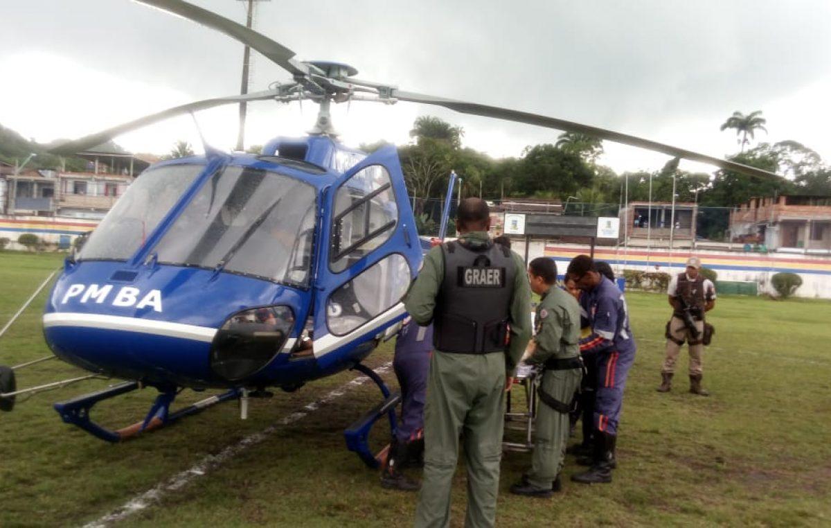 SAMU 192 contou com auxílio do helicóptero do Grupamento Aéreo da Polícia Militar (Graer) durante salvamento em São Francisco do Conde