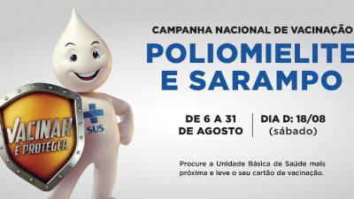 Campanha de vacinação contra sarampo e poliomielite segue até o dia 31 de agosto no município