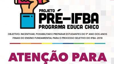 Estudantes participantes do Pré-IFBA serão submetidos a simulados no próximo sábado (01)