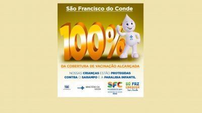 São Francisco do Conde atingiu 100% de cobertura de Vacinação Contra Sarampo e Paralisia Infantil