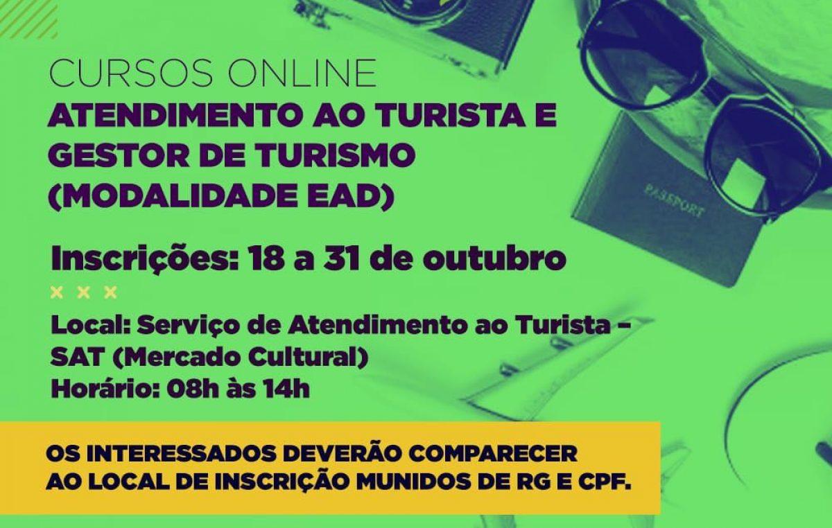 SETUR: Inscrições para cursos de capacitação (EAD)nas áreas de Atendimento ao turista e Gestão de Turismo seguem até o dia 31 de outubro (Quarta-feira)