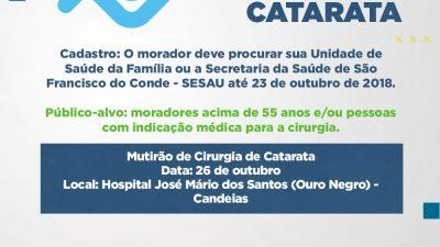 Termina hoje (23) o prazo para participar do Mutirão de Cirurgia de Catarata