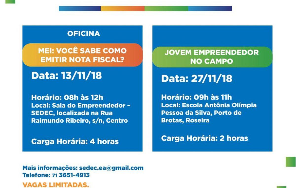 SEDEC realizará oficina e palestra do Projeto SEDEC e Você nos dias 13 e 27 de novembro