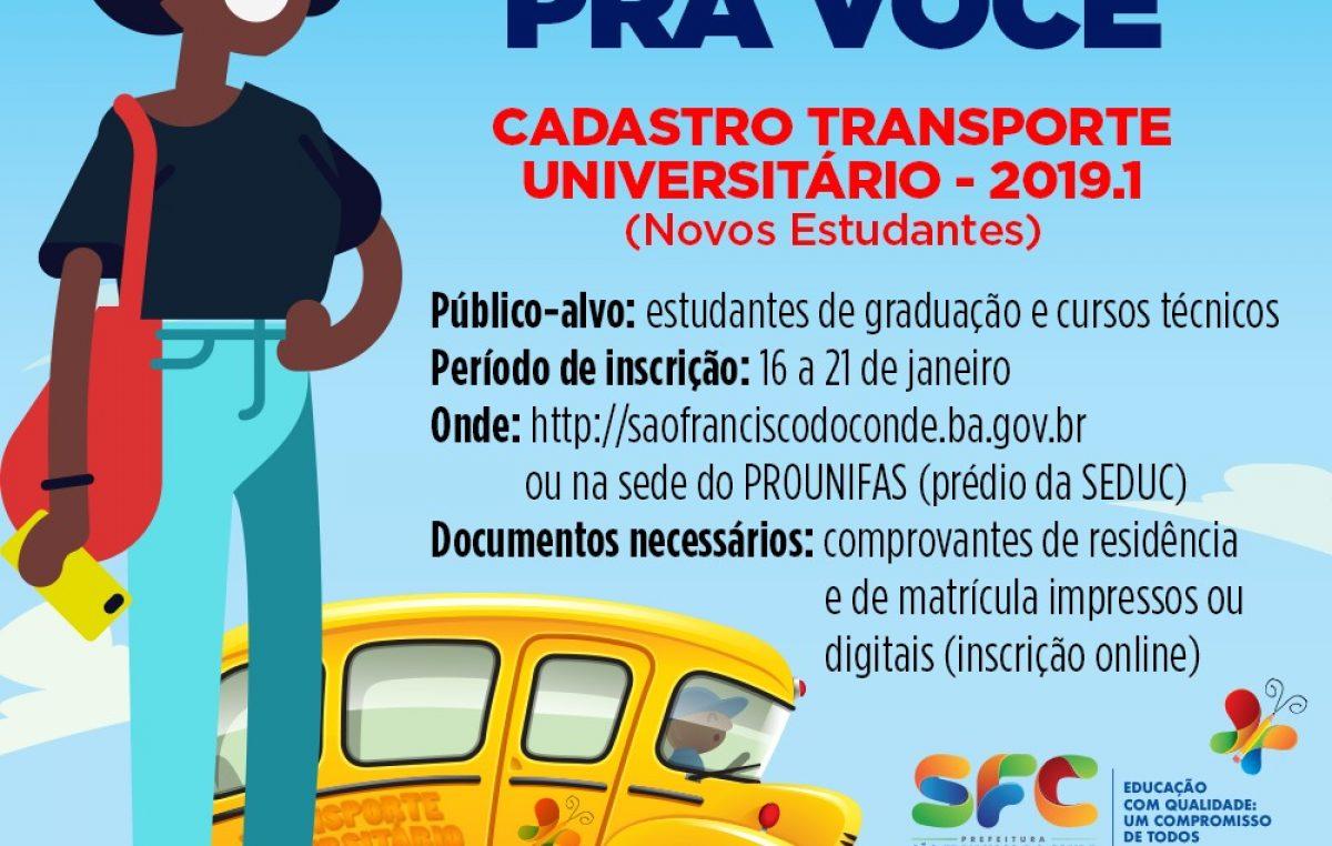 Já estão abertas as inscrições para novas vagas no Transporte Universitário