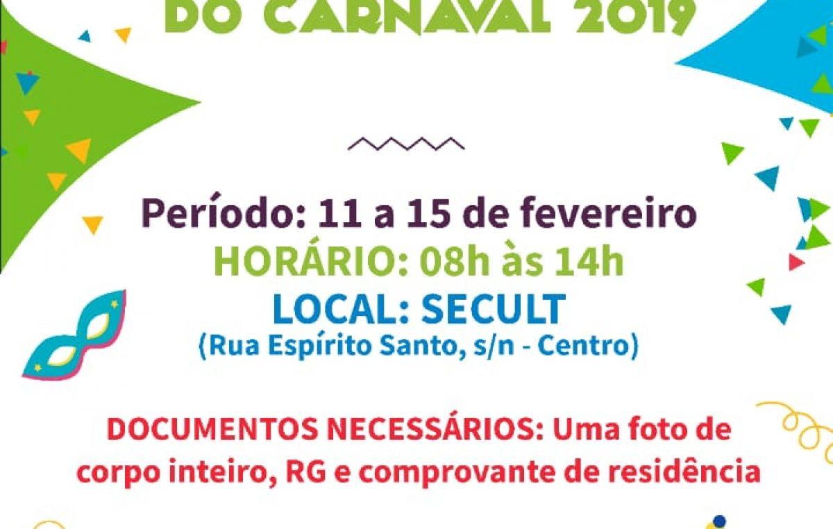 SECULT: Inscrições para o Concurso de Rei Momo, Rainha e Princesas do Carnaval acontecem de 11 a 15 de fevereiro
