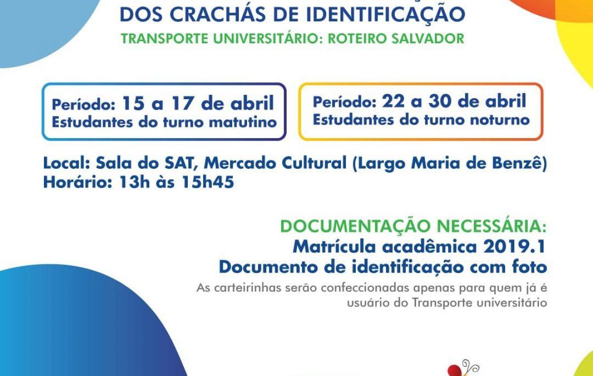 Usuários do Transporte Universitário deverão fazer sua carteirinha de identificação entre os dias 15 e 30 de abril