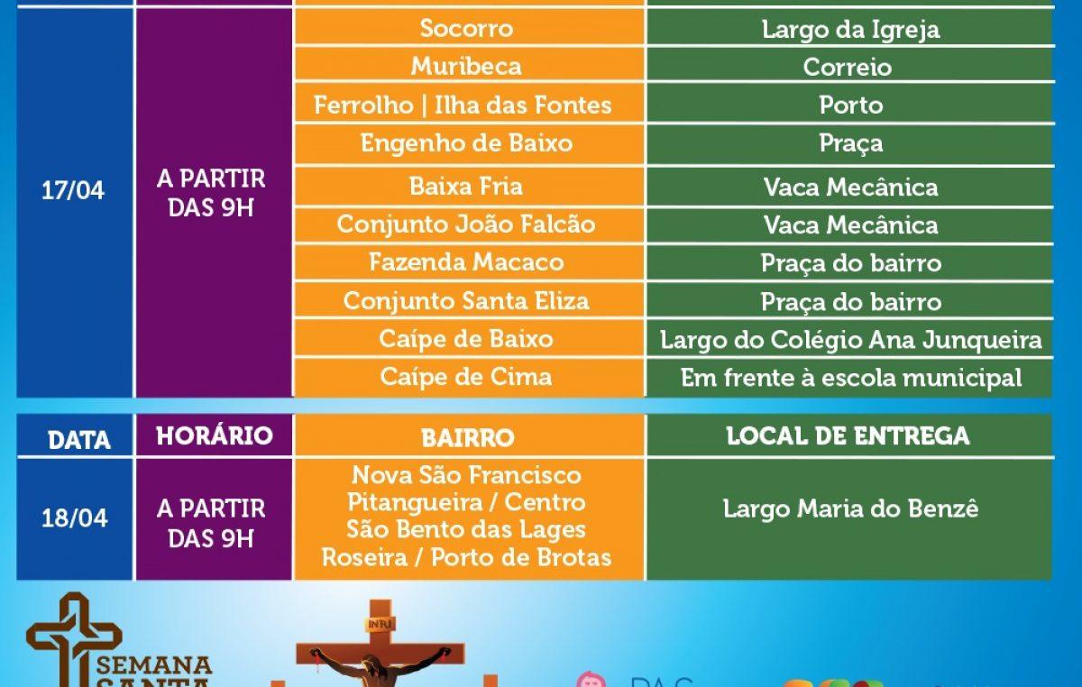 SFC: Programação de entrega das cestas básicas e peixes da Semana Santa