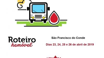 São Francisco do Conde oferece transporte gratuito para doadores de sangue e medula óssea, dias 23, 24,25 e 26 de abril