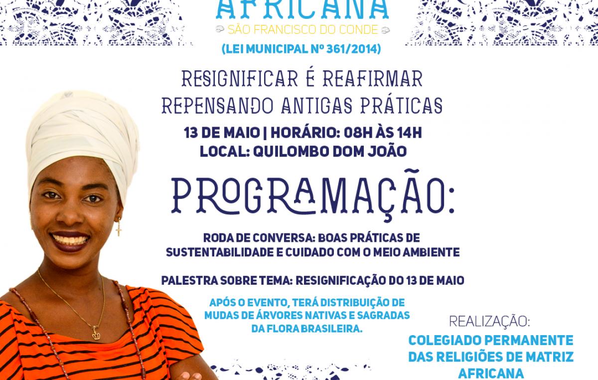 Encontro irá celebrar e dialogar sobre o 5º ano da Lei 361/2014, que dispõe sobre o Dia das Religiões de Matriz Africana no município franciscano