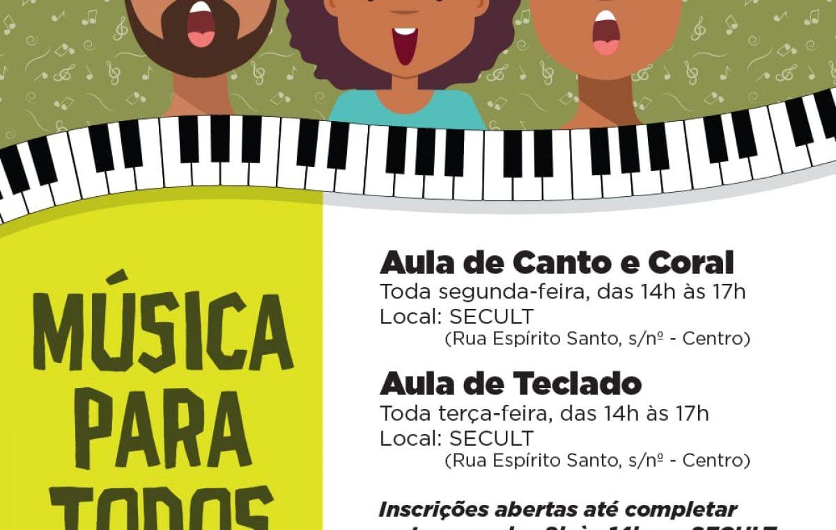 Inscreva-se nas aulas de Canto e Coral e de Teclado ofertadas pela SECULT