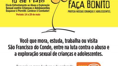 Semana de Enfrentamento ao Abuso e Exploração Sexual de Crianças e Adolescentes acontecerá de 14 a 29 de maio, em São Francisco do Conde