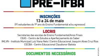 Abertas as inscrições para o Pré-IFBA