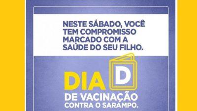 Dia D de vacinação contra o sarampo acontece neste sábado (19), em São Francisco do Conde