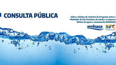 Consulta Pública para discutir minuta do contrato com a Embasa já está disponível no site da Prefeitura Municipal de São Francisco do Conde