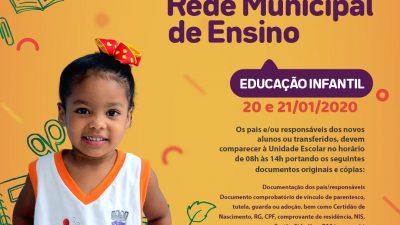 Matrícula 2020: Novos alunos e transferidos poderão ser matriculados nas unidades escolares de São Francisco do Conde a partir da próxima segunda-feira (20)
