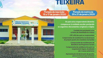 Creche Leonor Teixeira abre inscrições para novos alunos