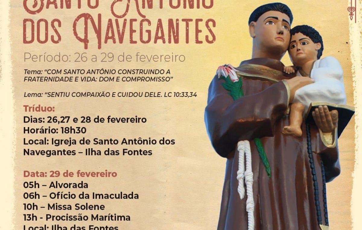 Homenagens a Santo Antônio dos Navegantes acontecerão de 26 a 29 de fevereiro na Ilha das Fontes