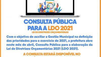 Gestão prorroga prazo de contribuições para LDO 2021 até o dia 30 de abril