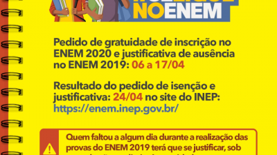 Prazo para pedidos de isenção para o ENEM 2020 se encerra nesta sexta-feira (17)