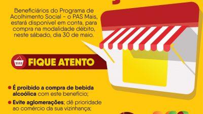 SEDESE libera o benefício social do PAS Mais neste sábado, dia 30 de maio