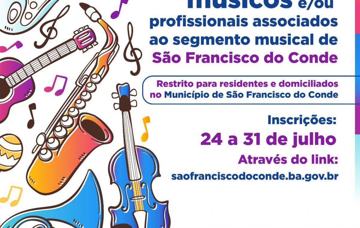 SETUR: cadastramento de músicos e/ou profissionais associados ao segmento musical acontecerá de 24 a 31 de julho