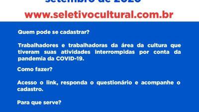 SECULT: Cadastramento Cultural – Lei Aldir Blanc acontece de 08 a 22 de setembro