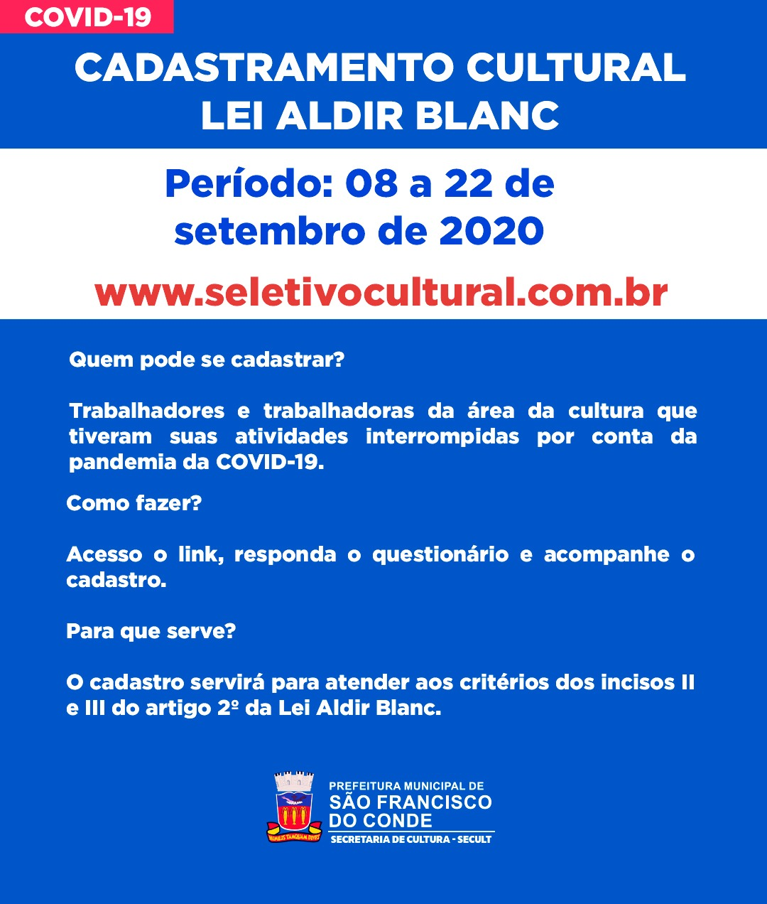 Lei Aldir Blanc: cadastramento de trabalhadores da Cultura segue acontecendo até o dia 22 de setembro