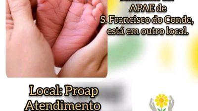 Teste do pezinho vem sendo realizado na sede do PROAP pela equipe da APAE de São Francisco do Conde
