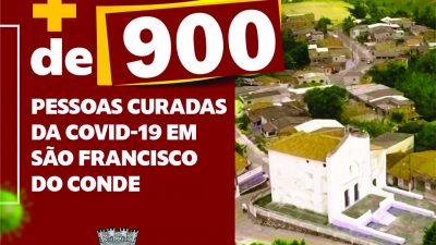 São Francisco do Conde ultrapassou os 900 casos curados da COVID-19 e taxa de cura é de 93,7%