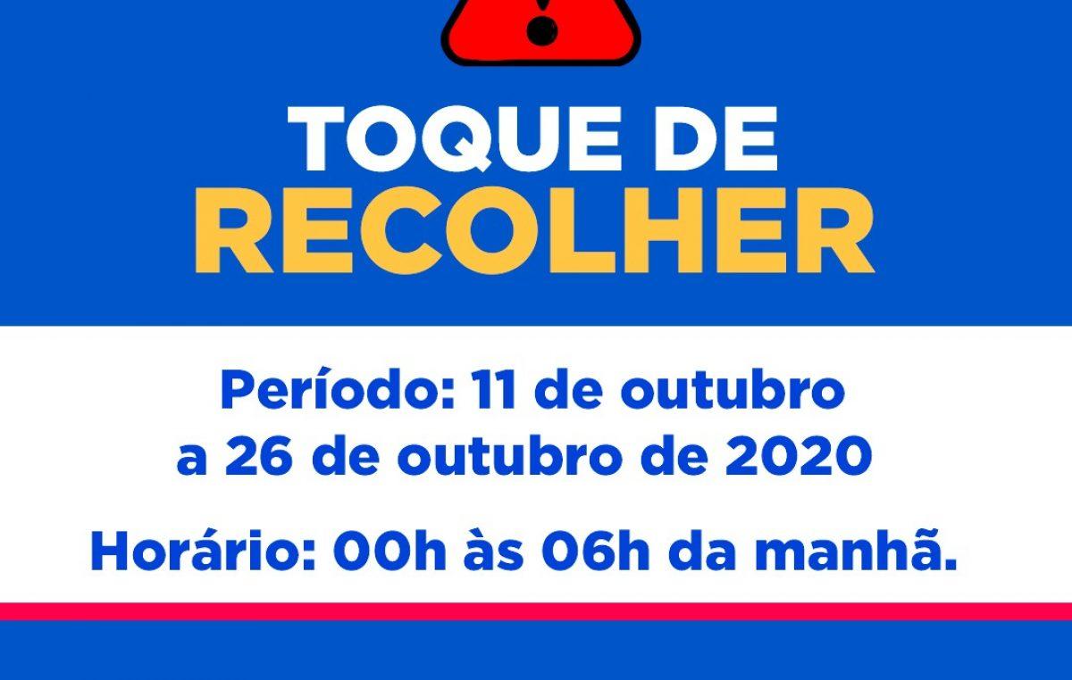 Novo decreto (2.629/2020) estabelece prorrogação do Toque de Recolher e novos protocolos de enfrentamento à pandemia