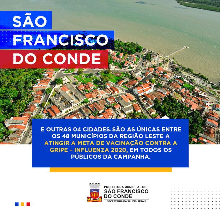 São Francisco do Conde e outras 04 cidades da Região Leste atingiram a meta de vacinação contra influenza 2020, em todos os públicos da campanha